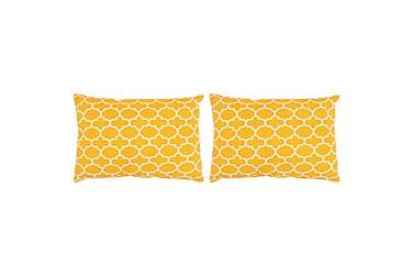Kuddar 2 st med mönster handgjord 40x60 cm gul