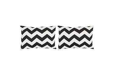 Kuddar 2 st med mönster handgjord 40x60 cm svart/vit