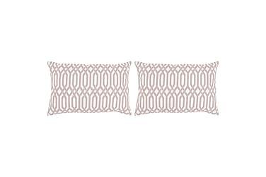 Kuddar 2 st med mönster handgjord 40x60 cm taupe