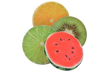 Kuddar 2 st tryck frukt flerfärgad
