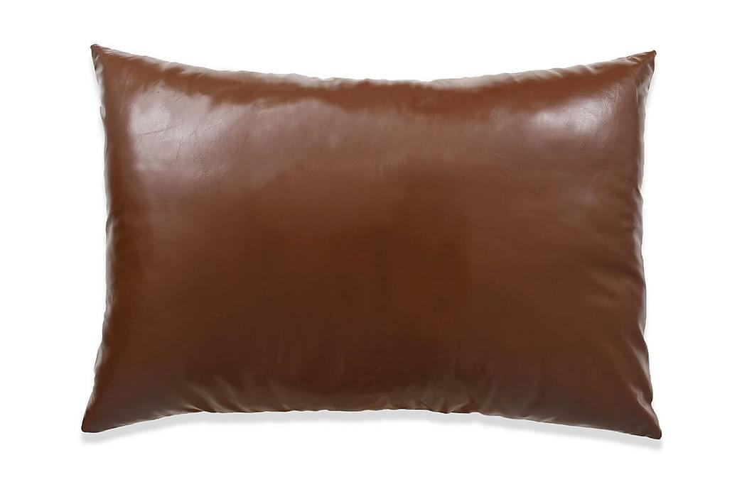 Kudde 2 st PU 40x60 cm brun - Brun - Inredning - Textilier - Prydnadskuddar
