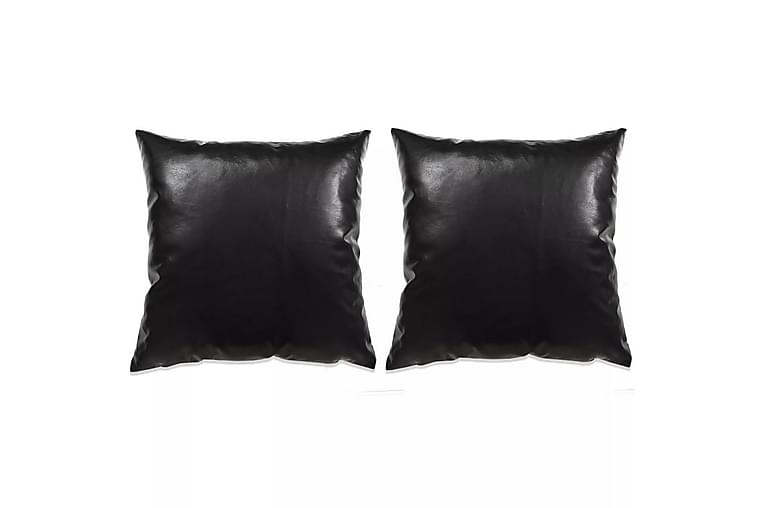 Kudde 2 st PU 45x45 cm svart - Svart - Inredning - Textilier - Prydnadskuddar