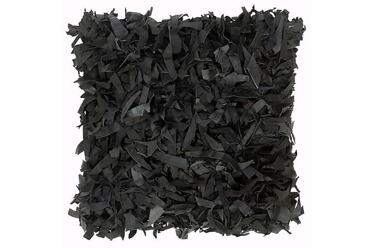 Kudde långhårig svart 60x60 cm läder och bomull - Svart - Inredning - Textilier - Prydnadskuddar
