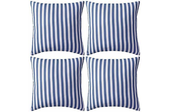 Prydnadskuddar för trädgården 4 st 45x45 cm randiga marinblå - Blå - Inredning - Textilier - Prydnadskuddar