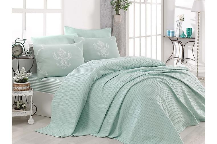 Överkast EnLora Home Enkelt 160x235+Lakan+Kuddfodral - Grön - Inredning - Textilier - Sängkläder