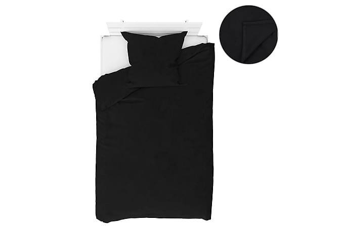 Bäddset 4 delar fleece svart 155x200/80x80 cm - Svart - Inredning - Textilier - Sängkläder
