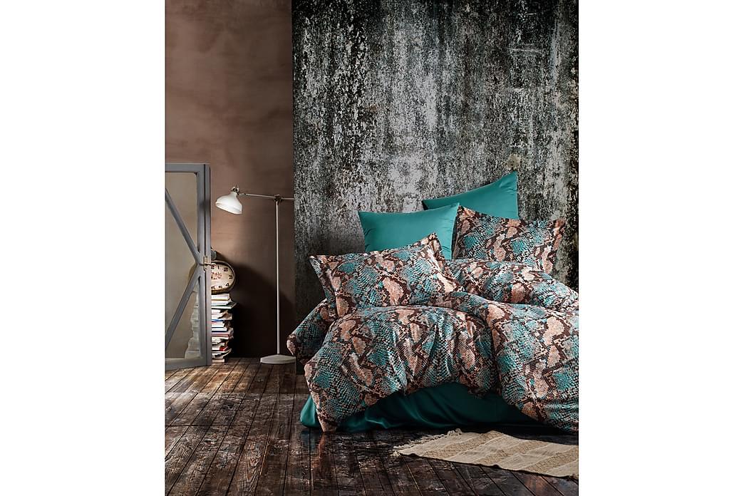 Bäddset Primacasa by Türkiz Dubbelt 6-dels Satin - Blå|Brun - Inredning - Textilier - Sängkläder