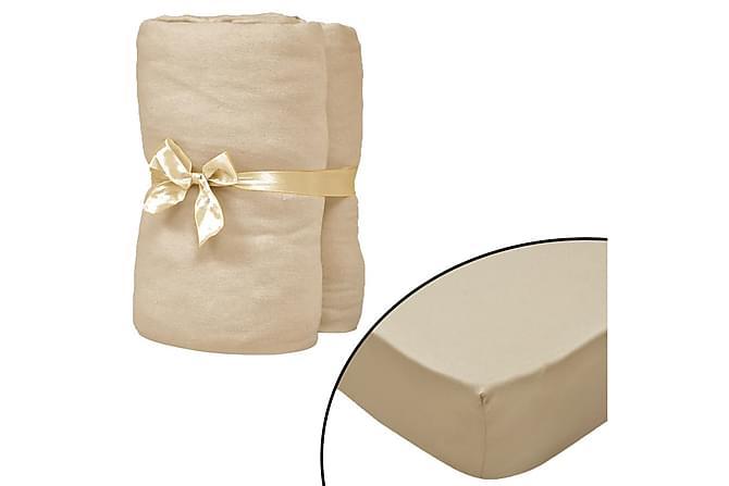 Dra-på-lakan för vattensäng 2 st 200x200cm bomullsjersey - Beige - Inredning - Textilier - Sängkläder