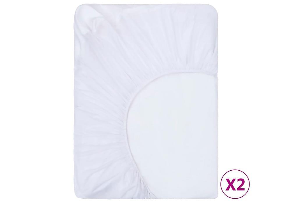 Dra-på-lakan vattentäta 2 st bomull 200x200 cm vit - Vit - Inredning - Textilier - Sängkläder