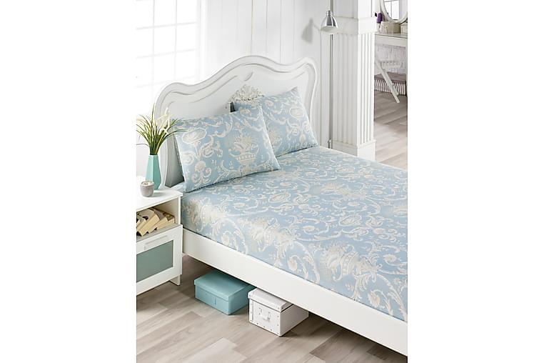 Lakan EnLora Home Dubbelt 160x200 cm+Kuddfodral - Blå Creme - Inredning - Textilier - Sängkläder