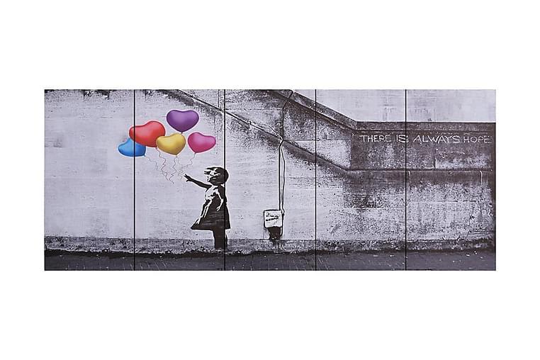 Canvastavla barn med ballonger flerfärgad 200x80 cm - Flerfärgad - Inredning - Väggdekor - Canvastavlor