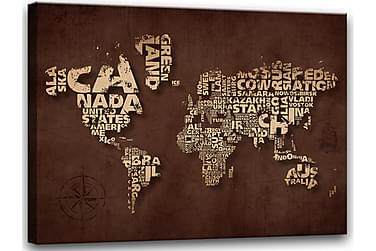 Tavla Canvas Världskarta