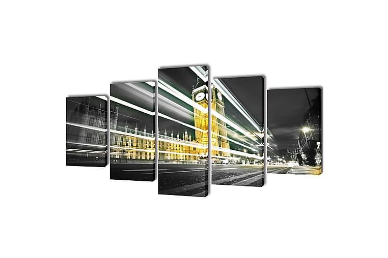 Uppsättning väggbonader på duk: London Big Ben 100x50 cm - Flerfärgad - Inredning - Väggdekor - Canvastavlor