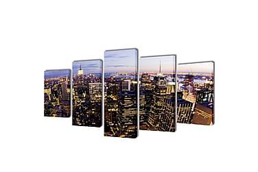 Uppsättning väggbonader på duk: New Yorks horisont 200 x 100