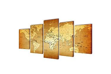 Uppsättning väggbonader på duk: världskarta 100 x 50 cm