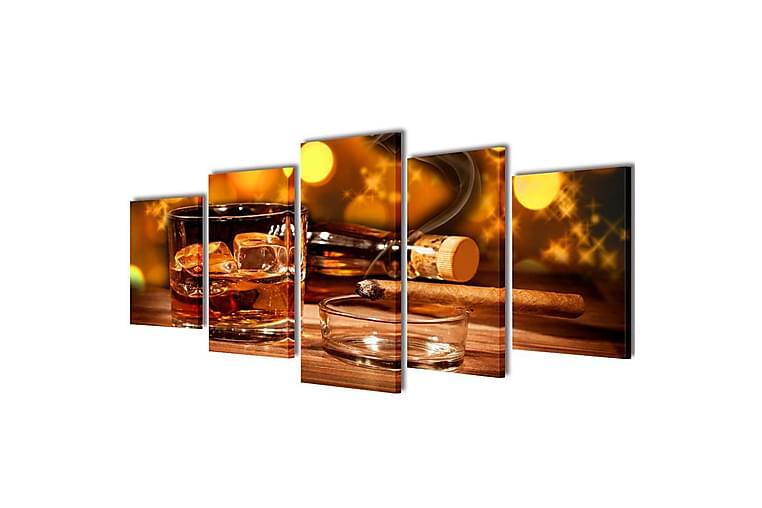 Uppsättning väggbonader på duk: whiskey och cigarr 200x100cm - Flerfärgad - Inredning - Väggdekor - Canvastavlor