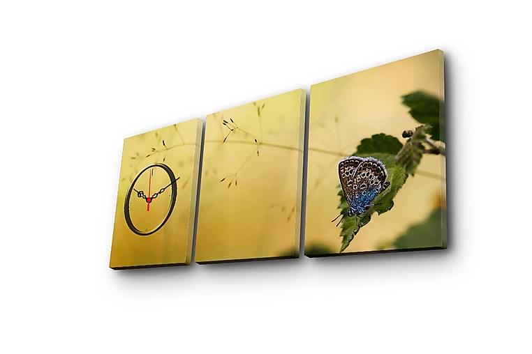 Canvasmålning Dekorativ med Klocka 3 Delar - Flerfärgad - Inredning - Väggdekor - Klockor