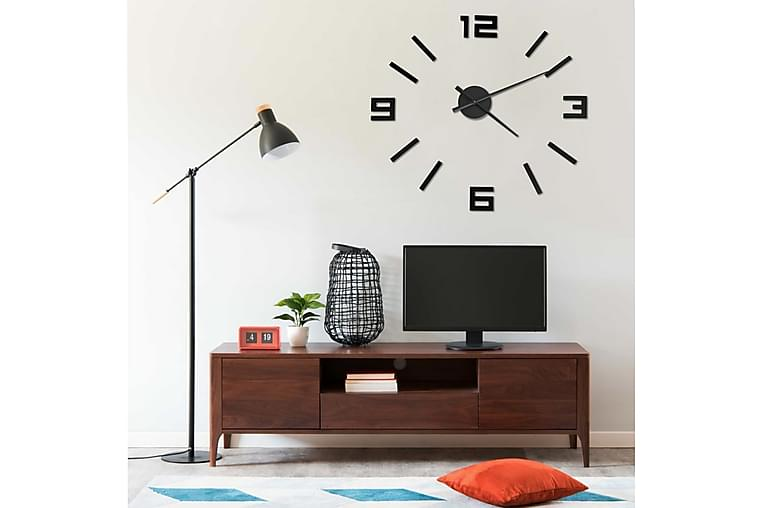 Väggklocka 3D modern design svart 100 cm XXL - Svart - Inredning - Väggdekor - Klockor