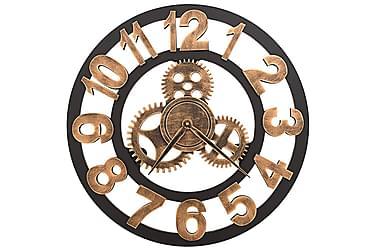 Väggklocka metall 58 cm guld och svart