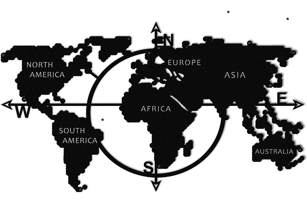 Väggdekoration Världskartan - Homemania - Inredning - Väggdekor - Plåtskyltar