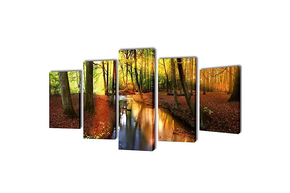 Canvastavlor set om 5 skog 200 x 100 cm