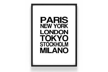Poster Städer text 50x70cm - 230g matt fotopapper