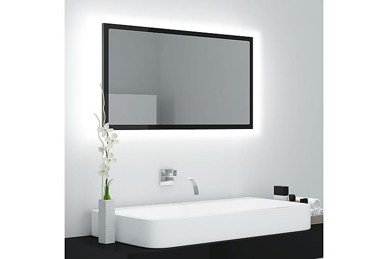 Badrumsspegel med LED svart högglans 80x8,5x37 cm spånskiva - Svart - Inredning - Väggdekor - Speglar