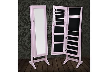 Smyckesskåp med spegel 46x37x146cm rosa