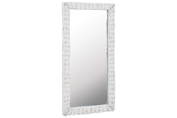 Spegel i korgmaterial 50x100 cm vit - Vit - Inredning - Väggdekor - Speglar