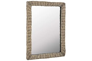 Spegel i korgmaterial 60x80 cm brun