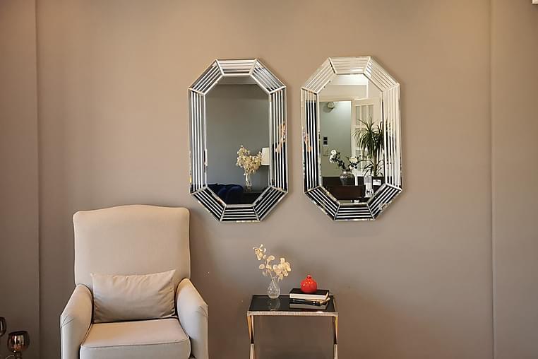 Spegelset Två Delar Hunkele 100 cm - Silver - Inredning - Väggdekor - Speglar