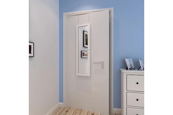 Vägghängt smyckesskåp med spegel och 2 dörrhängare trä - Vit - Inredning - Väggdekor - Speglar