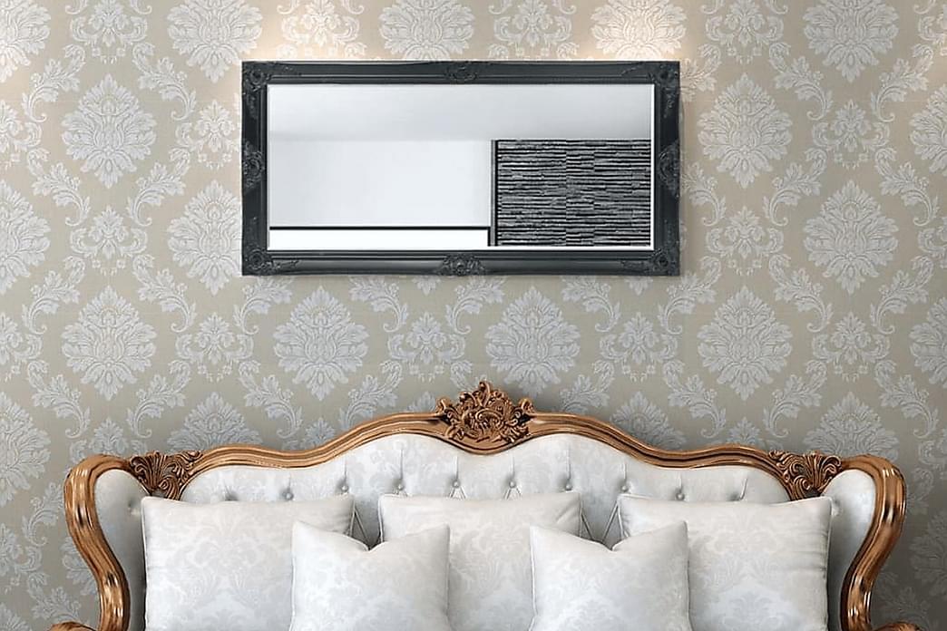 Väggspegel i barockstil 120x60 cm svart - Svart - Inredning - Väggdekor - Speglar