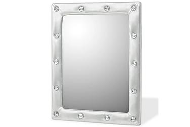 Väggspegel konstläder blank silver 40x50 cm