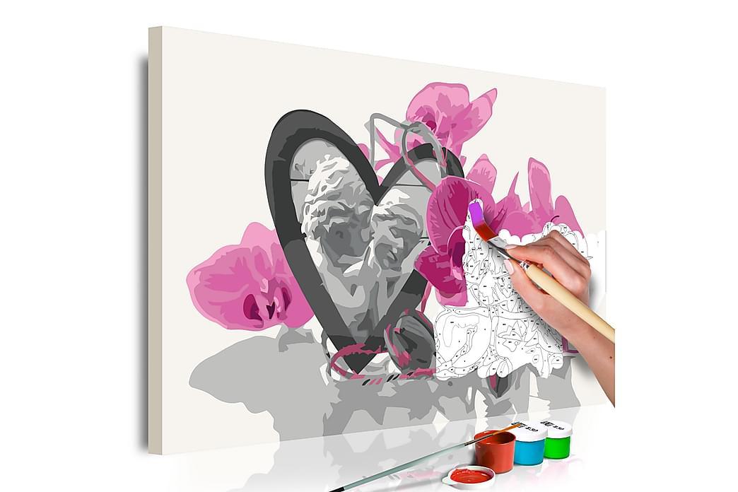 Gör-det-själv Målningar Angels Heart & Pink Orchid 60x40 cm - Inredning - Väggdekor - Tavlor & konst