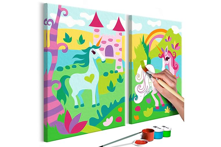 Gör-det-själv Målningar Fairytale Unicorns 33x23 cm - Inredning - Väggdekor - Tavlor & konst
