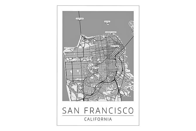 Poster San Francisco Stadskarta 50x70cm - Vit - Inredning - Väggdekor - Posters