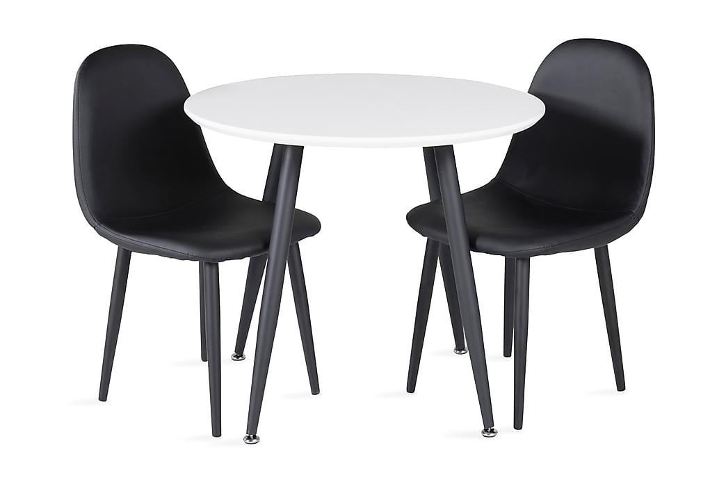 Carltone Matgrupp för barn 60 cm Rund med 2 Domvik Matstolar - Vit|Svart - Möbler - Barnmöbler - Barnbord