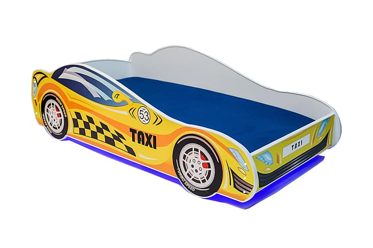 Barnsäng Dusko Taxibil 80x160 LED - Gul - Möbler - Barnmöbler - Barnsäng & juniorsäng