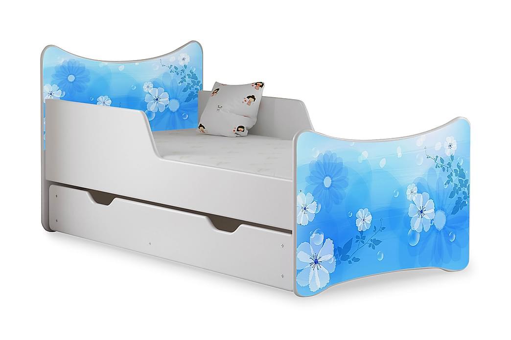 Barnsäng med Förvaring Frally Blue Flower inkl Madrass - Vit - Möbler - Barnmöbler - Barnsäng & juniorsäng