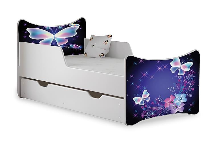 Barnsäng med Förvaring Frally Butterfly inkl Madrass - Vit - Möbler - Barnmöbler - Barnsäng & juniorsäng