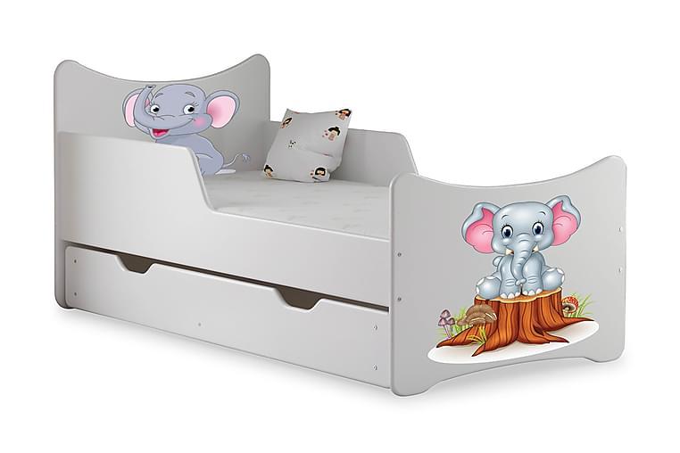 Barnsäng med Förvaring Frally Elefantbaby inkl Madrass - Vit - Möbler - Barnmöbler - Barnsäng & juniorsäng