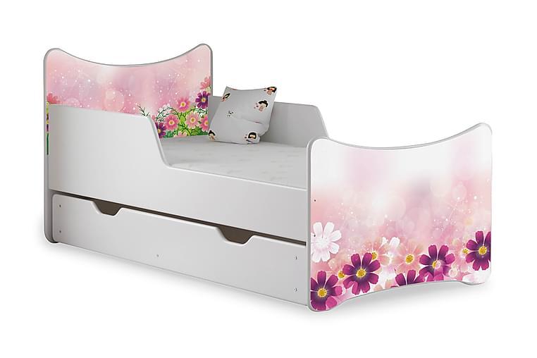 Barnsäng med Förvaring Frally Flowerdream inkl Madrass - Vit - Möbler - Barnmöbler - Barnsäng & juniorsäng