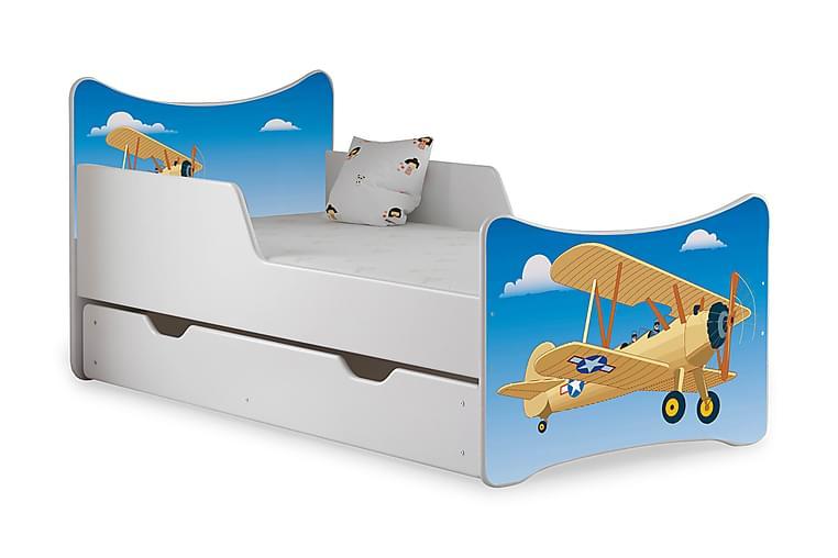 Barnsäng med Förvaring Frally Flygplan/Himmel inkl Madrass - Vit - Möbler - Barnmöbler - Barnsäng & juniorsäng