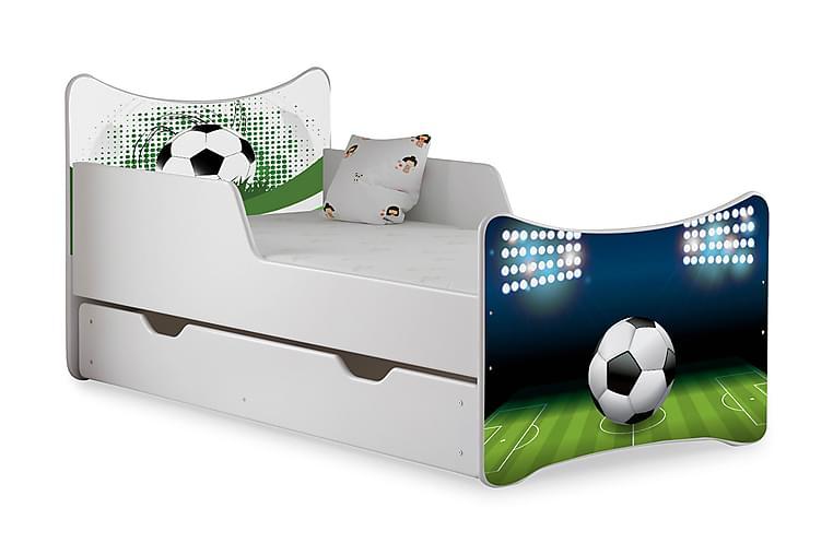Barnsäng med Förvaring Frally Fotboll inkl Madrass - Vit - Möbler - Barnmöbler - Barnsäng & juniorsäng