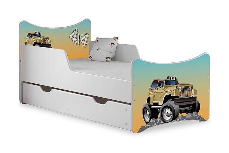 Barnsäng med Förvaring Frally Jeep inkl Madrass - Vit - Möbler - Barnmöbler - Barnsäng & juniorsäng