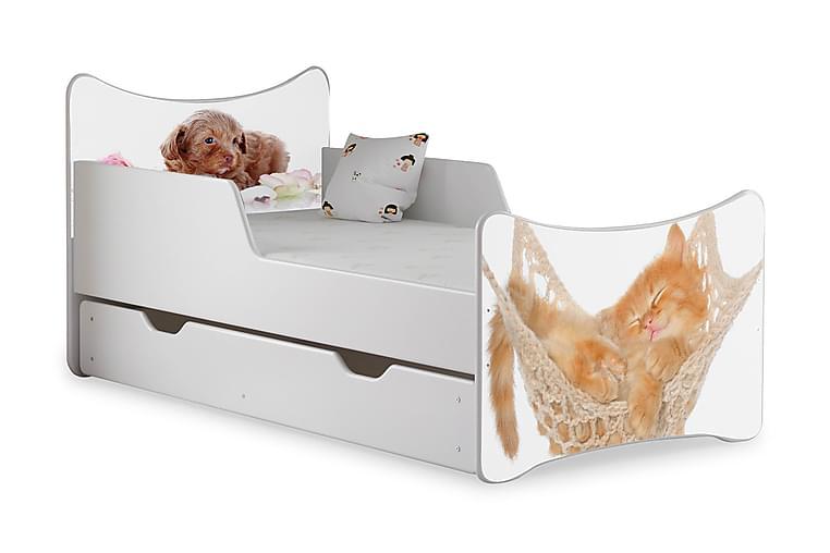 Barnsäng med Förvaring Frally Katt/Hund inkl Madrass - Vit - Möbler - Barnmöbler - Barnsäng & juniorsäng