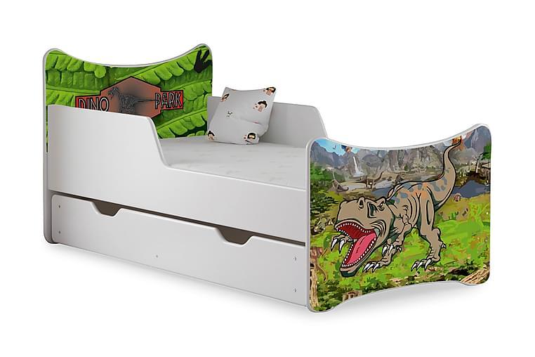 Barnsäng med Förvaring Frally T-Rex Dinopark inkl Madrass - Vit - Möbler - Barnmöbler - Barnsäng & juniorsäng