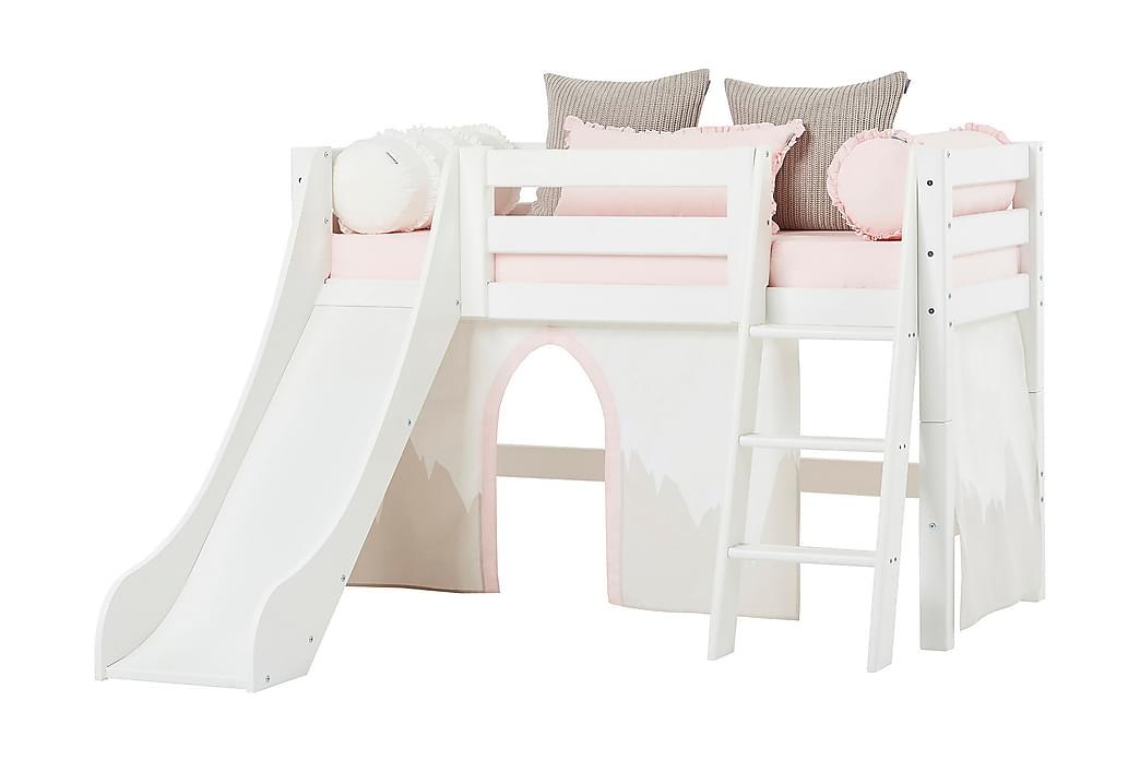Säng med stege och rutschkana Insjo 169 cm - Vit - Möbler - Barnmöbler - Barnsäng & juniorsäng
