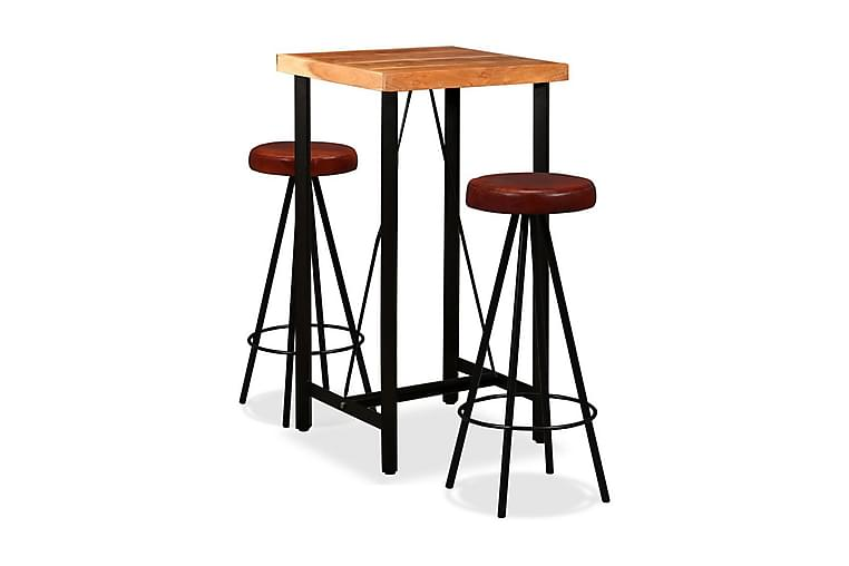 Barmöbler 3 delar massiv akacia och äkta läder - Brun - Möbler - Bord - Barbord & ståbord